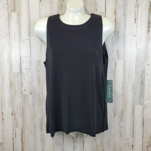 Lauren Ralph Lauren Womens Top Black Stretch